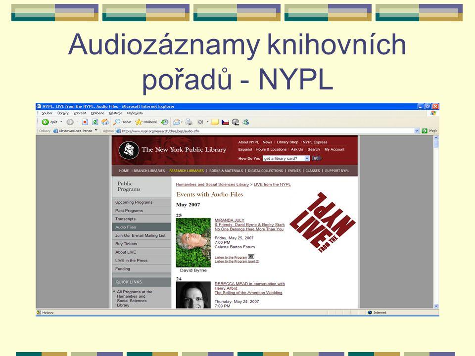 Audiozáznamy knihovních pořadů - NYPL