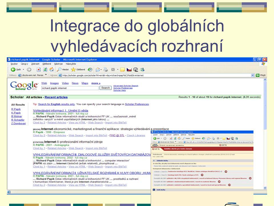 Integrace do globálních vyhledávacích rozhraní