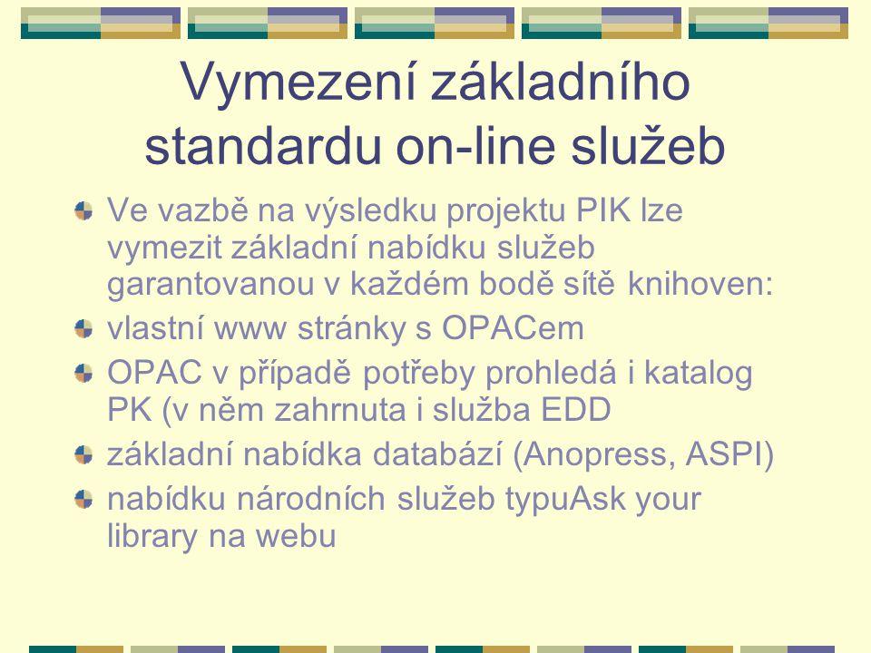Vymezení základního standardu on-line služeb Ve vazbě na výsledku projektu PIK lze vymezit základní nabídku služeb garantovanou v každém bodě sítě knihoven: vlastní www stránky s OPACem OPAC v případě potřeby prohledá i katalog PK (v něm zahrnuta i služba EDD základní nabídka databází (Anopress, ASPI) nabídku národních služeb typuAsk your library na webu