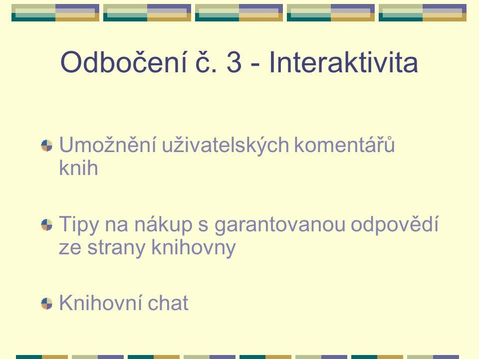 Odbočení č. 3 - Interaktivita Umožnění uživatelských komentářů knih Tipy na nákup s garantovanou odpovědí ze strany knihovny Knihovní chat