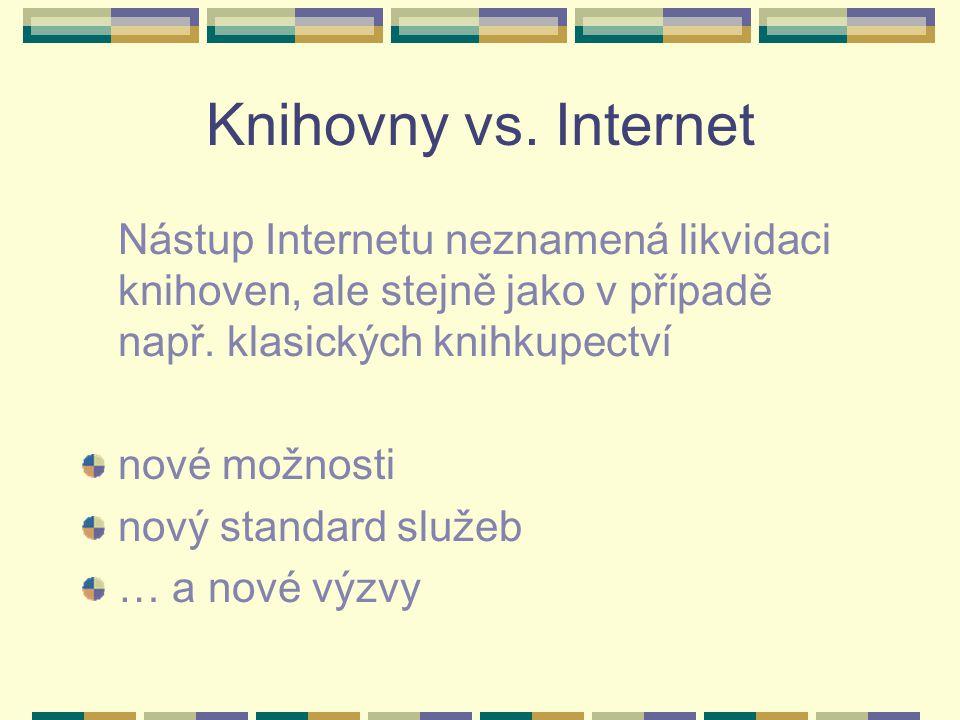 Knihovny vs. Internet Nástup Internetu neznamená likvidaci knihoven, ale stejně jako v případě např. klasických knihkupectví nové možnosti nový standa