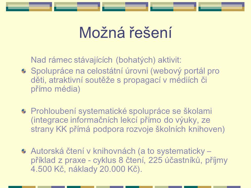 Možná řešení Nad rámec stávajících (bohatých) aktivit: Spolupráce na celostátní úrovni (webový portál pro děti, atraktivní soutěže s propagací v médií