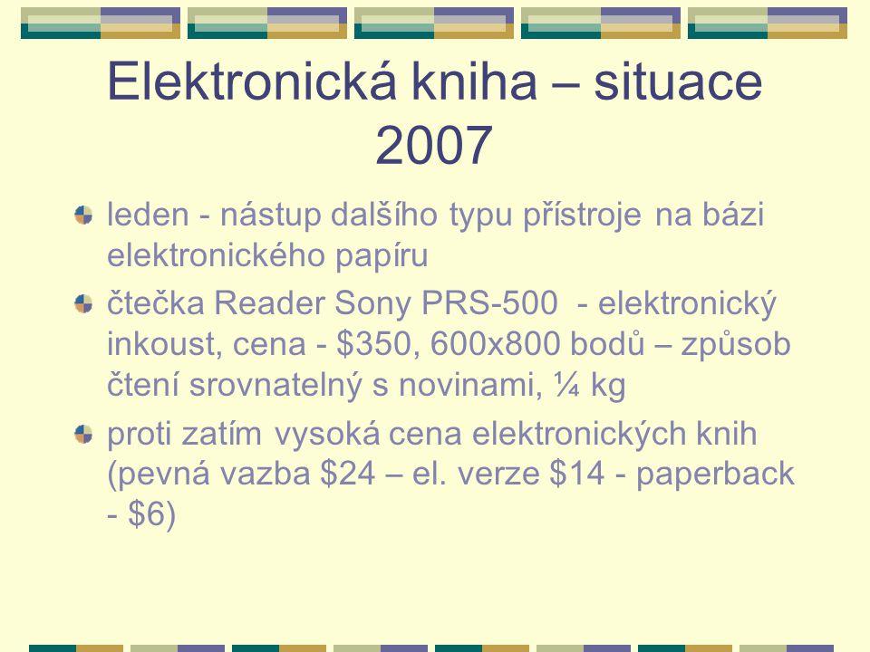 Elektronická kniha – situace 2007 leden - nástup dalšího typu přístroje na bázi elektronického papíru čtečka Reader Sony PRS-500 - elektronický inkoust, cena - $350, 600x800 bodů – způsob čtení srovnatelný s novinami, ¼ kg proti zatím vysoká cena elektronických knih (pevná vazba $24 – el.