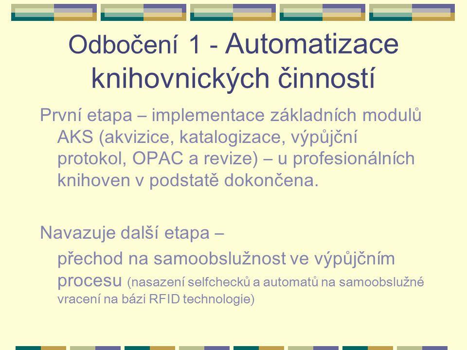 Odbočení 1 - Automatizace knihovnických činností První etapa – implementace základních modulů AKS (akvizice, katalogizace, výpůjční protokol, OPAC a revize) – u profesionálních knihoven v podstatě dokončena.