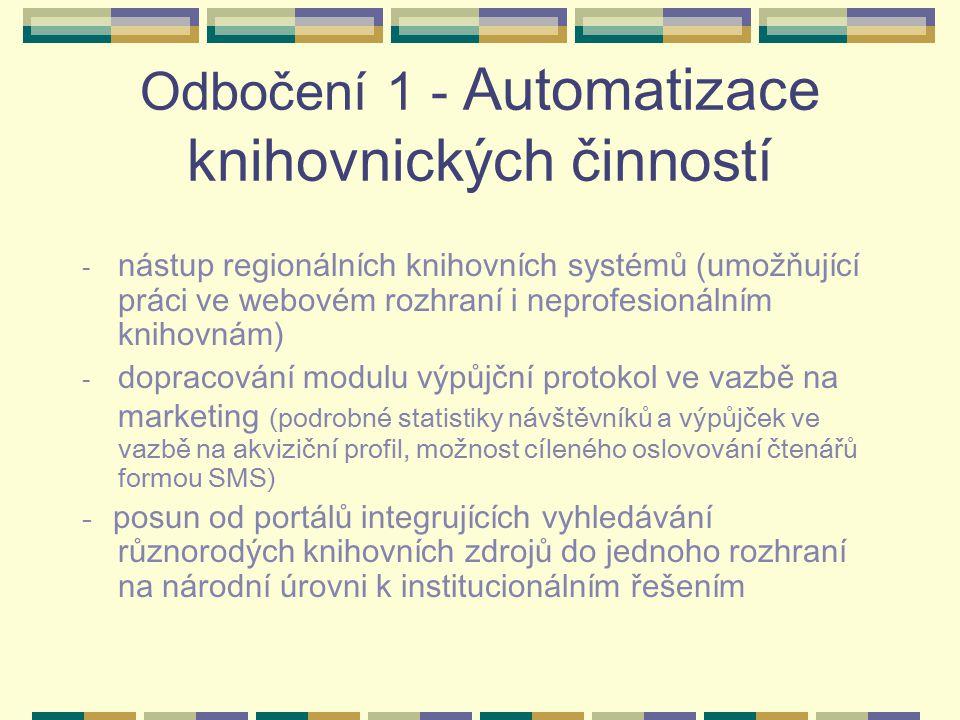 Odbočení 1 - Automatizace knihovnických činností - nástup regionálních knihovních systémů (umožňující práci ve webovém rozhraní i neprofesionálním knihovnám) - dopracování modulu výpůjční protokol ve vazbě na marketing (podrobné statistiky návštěvníků a výpůjček ve vazbě na akviziční profil, možnost cíleného oslovování čtenářů formou SMS) - posun od portálů integrujících vyhledávání různorodých knihovních zdrojů do jednoho rozhraní na národní úrovni k institucionálním řešením