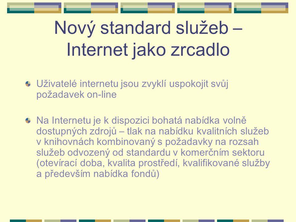 Nový standard služeb – Internet jako zrcadlo Uživatelé internetu jsou zvyklí uspokojit svůj požadavek on-line Na Internetu je k dispozici bohatá nabídka volně dostupných zdrojů – tlak na nabídku kvalitních služeb v knihovnách kombinovaný s požadavky na rozsah služeb odvozený od standardu v komerčním sektoru (otevírací doba, kvalita prostředí, kvalifikované služby a především nabídka fondů)