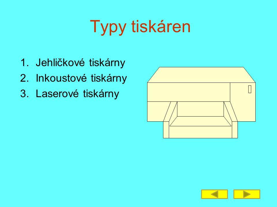 Typy tiskáren 1.Jehličkové tiskárny 2.Inkoustové tiskárny 3.Laserové tiskárny