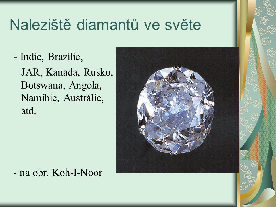 Naleziště diamantů ve světe - Indie, Brazílie, JAR, Kanada, Rusko, Botswana, Angola, Namíbie, Austrálie, atd. - na obr. Koh-I-Noor