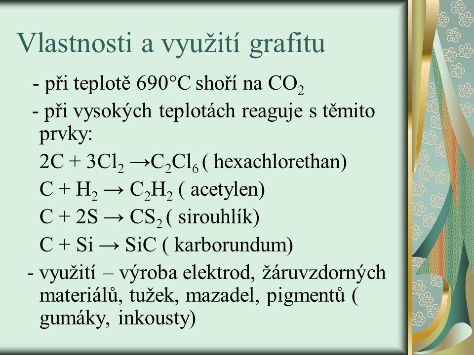 Vlastnosti a využití grafitu - při teplotě 690°C shoří na CO 2 - při vysokých teplotách reaguje s těmito prvky: 2C + 3Cl 2 →C 2 Cl 6 ( hexachlorethan) C + H 2 → C 2 H 2 ( acetylen) C + 2S → CS 2 ( sirouhlík) C + Si → SiC ( karborundum) - využití – výroba elektrod, žáruvzdorných materiálů, tužek, mazadel, pigmentů ( gumáky, inkousty)