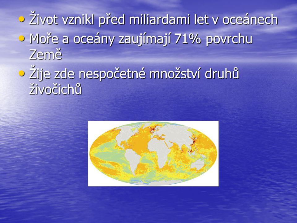 Život vznikl před miliardami let v oceánech Život vznikl před miliardami let v oceánech Moře a oceány zaujímají 71% povrchu Země Moře a oceány zaujíma