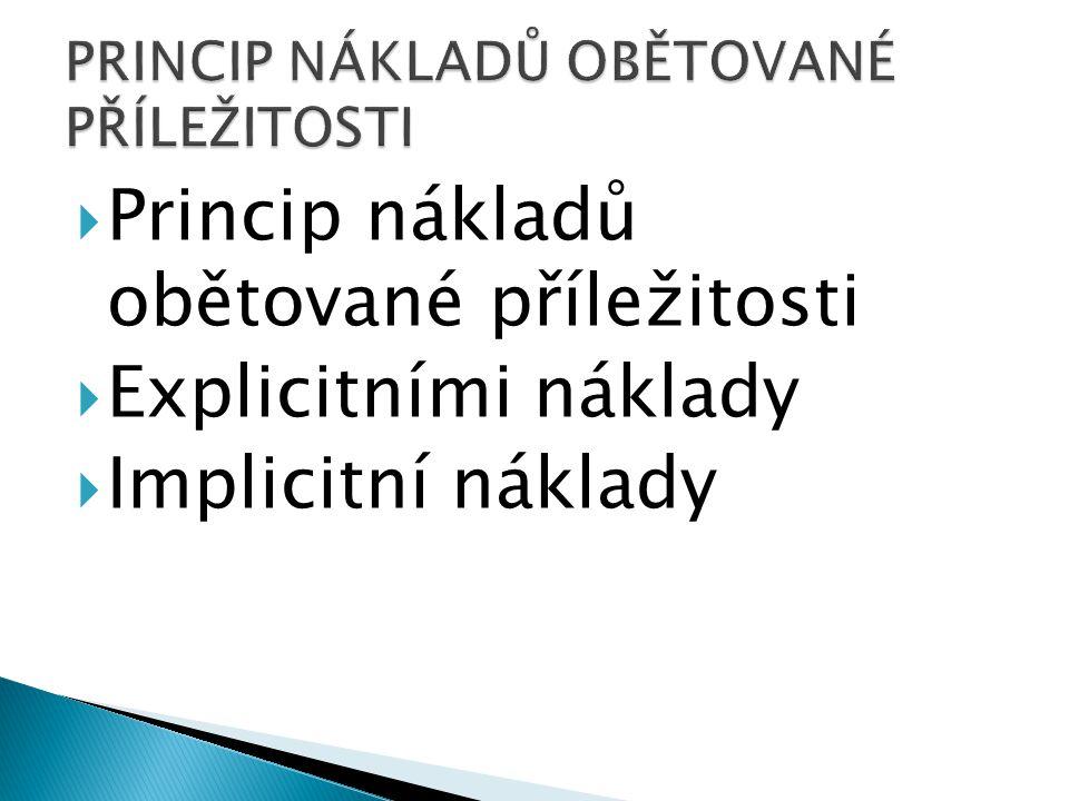  Princip nákladů obětované příležitosti  Explicitními náklady  Implicitní náklady
