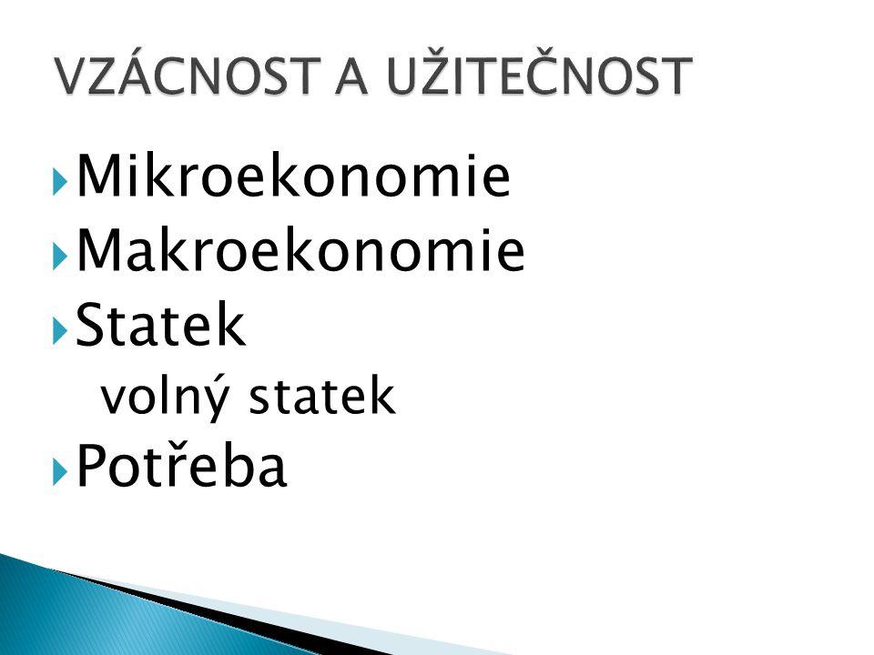  Mikroekonomie  Makroekonomie  Statek volný statek  Potřeba