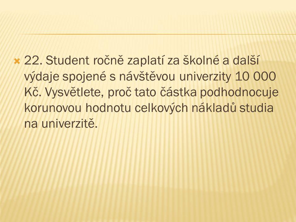  22. Student ročně zaplatí za školné a další výdaje spojené s návštěvou univerzity 10 000 Kč. Vysvětlete, proč tato částka podhodnocuje korunovou hod