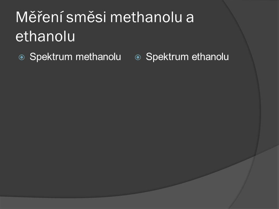 Měření směsi methanolu a ethanolu  Spektrum methanolu  Spektrum ethanolu