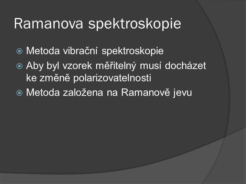 Ramanova spektroskopie  Metoda vibrační spektroskopie  Aby byl vzorek měřitelný musí docházet ke změně polarizovatelnosti  Metoda založena na Ramanově jevu