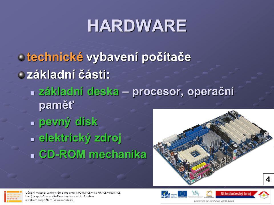 HARDWARE technické vybavení počítače základní části: základní deska – procesor, operační paměť základní deska – procesor, operační paměť pevný disk pe