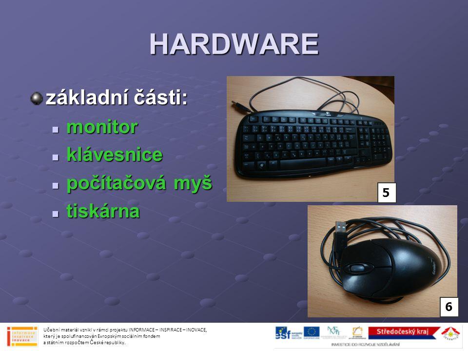 HARDWARE základní části: monitor monitor klávesnice klávesnice počítačová myš počítačová myš tiskárna tiskárna Učební materiál vznikl v rámci projektu