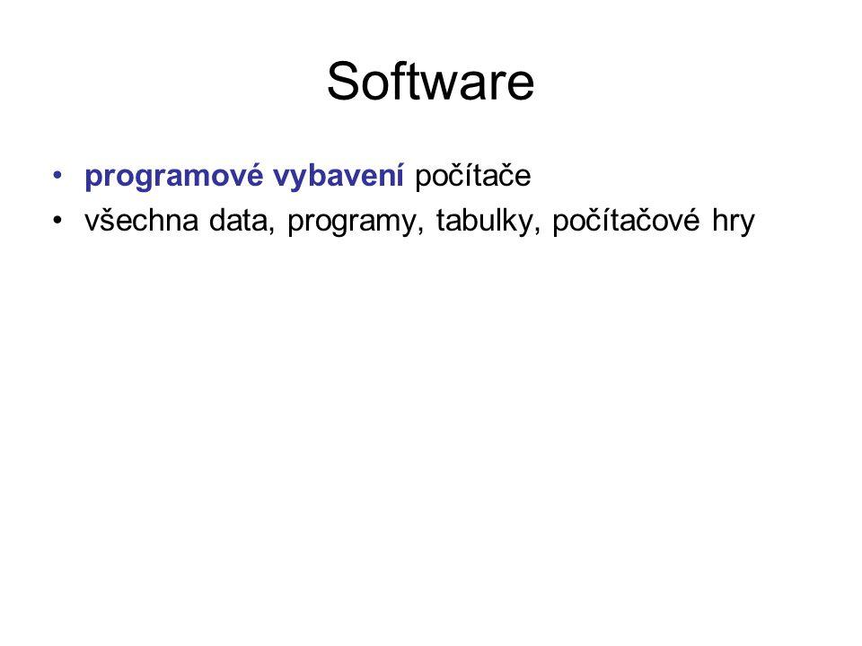 Software programové vybavení počítače všechna data, programy, tabulky, počítačové hry