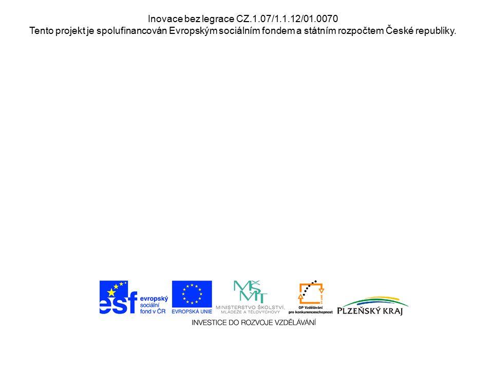 Inovace bez legrace CZ.1.07/1.1.12/01.0070 Tento projekt je spolufinancován Evropským sociálním fondem a státním rozpočtem České republiky.