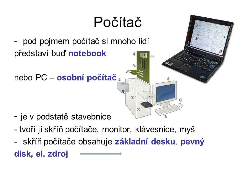 Počítač -pod pojmem počítač si mnoho lidí představí buď notebook nebo PC – osobní počítač - je v podstatě stavebnice - tvoří ji skříň počítače, monito
