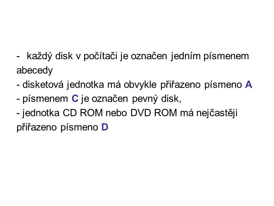 -každý disk v počítači je označen jedním písmenem abecedy - disketová jednotka má obvykle přiřazeno písmeno A - písmenem C je označen pevný disk, - je