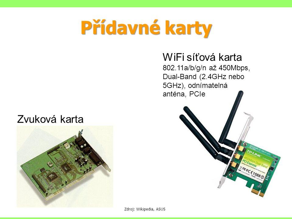 Přídavné karty Zdroj: Wikipedia, ASUS Zvuková karta WiFi síťová karta 802.11a/b/g/n až 450Mbps, Dual-Band (2.4GHz nebo 5GHz), odnímatelná anténa, PCIe