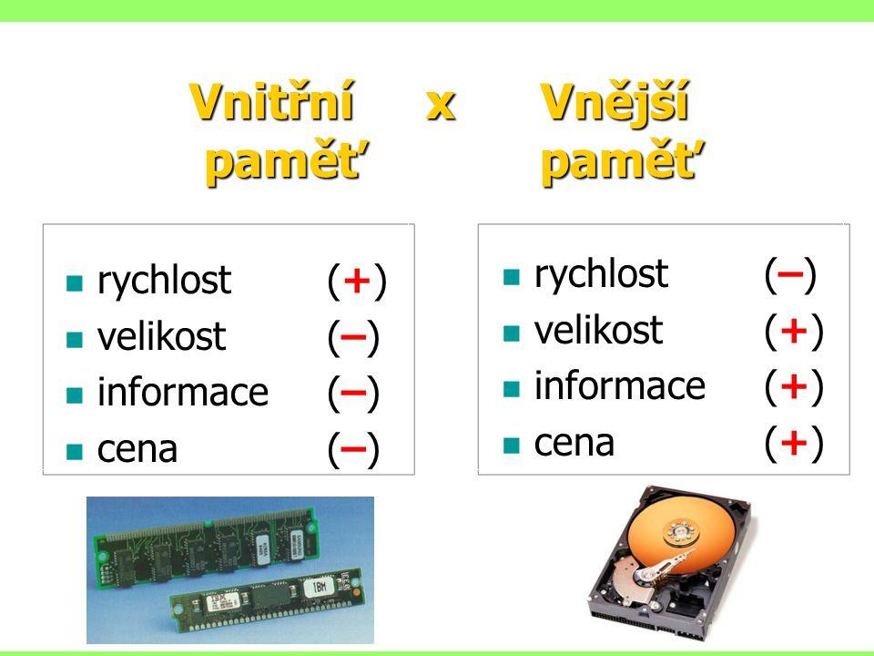 rychlost(+) velikost(–) informace(–) cena(–) rychlost(–) velikost(+) informace(+) cena(+) Vnitřní x Vnější paměť paměť paměť paměť