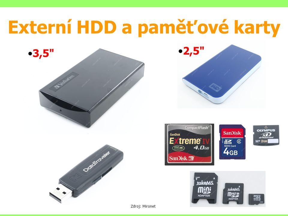 Externí HDD a paměťové karty 3,5