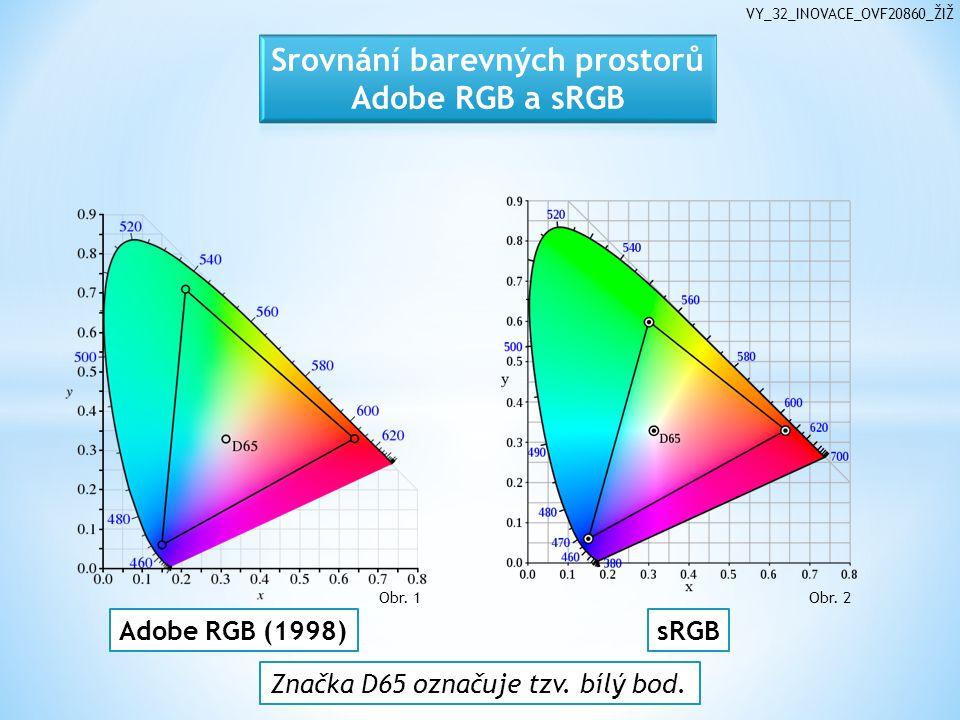 VY_32_INOVACE_OVF20860_ŽIŽ Značka D65 označuje tzv. bílý bod. Adobe RGB (1998)sRGB Obr. 1 Obr. 2