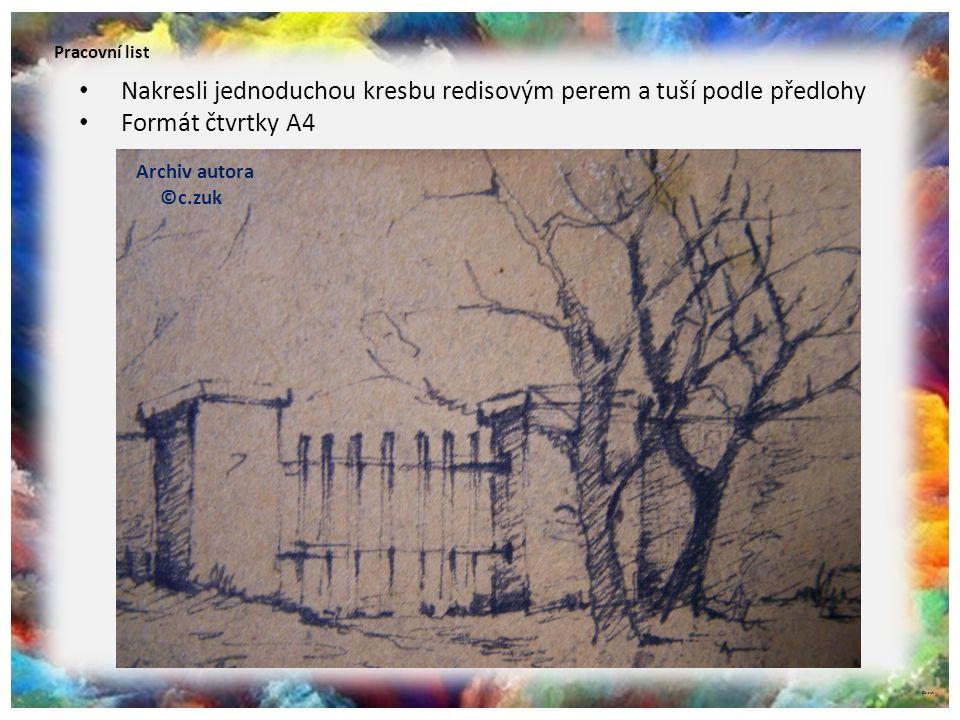 Pracovní list Nakresli jednoduchou kresbu redisovým perem a tuší podle předlohy Formát čtvrtky A4 Archiv autora ©c.zuk