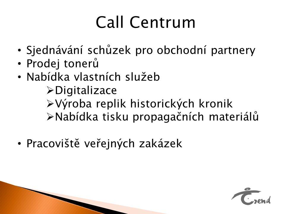 Call Centrum Sjednávání schůzek pro obchodní partnery Prodej tonerů Nabídka vlastních služeb  Digitalizace  Výroba replik historických kronik  Nabí