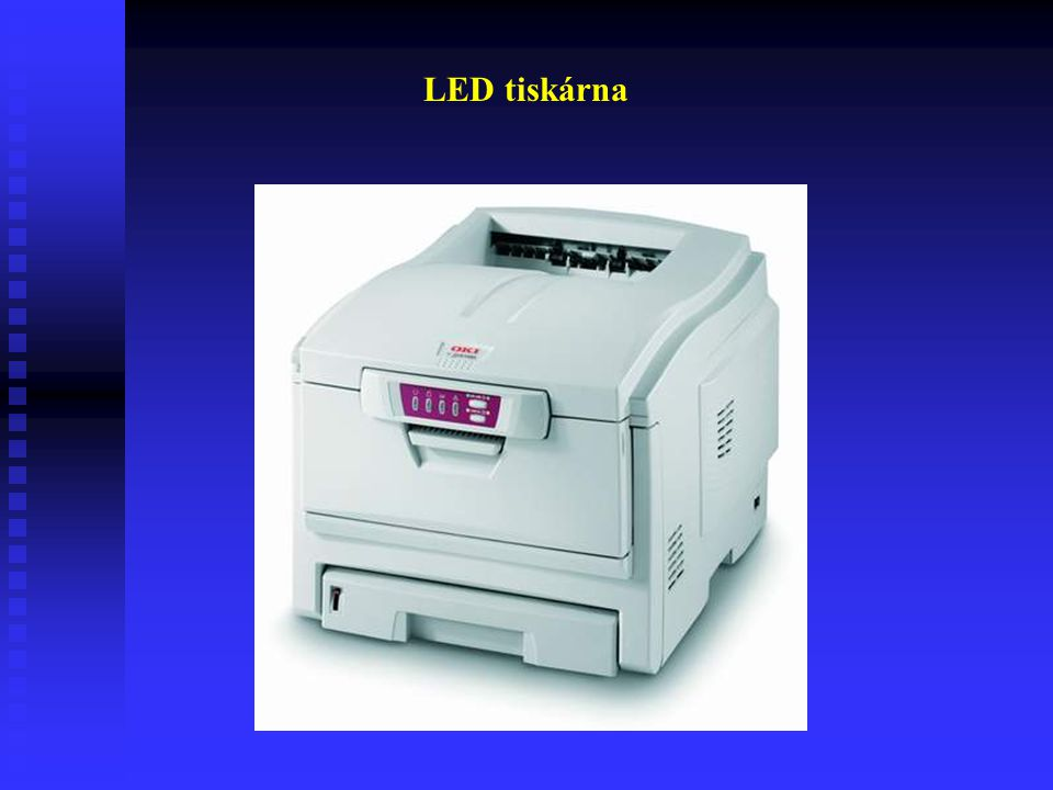 LED tiskárny Zdrojem světla a tepla zde není laserová dioda, ale velké množství LED diod, které jsou v pásu nahuštěny vedle sebe a každá dioda repreze