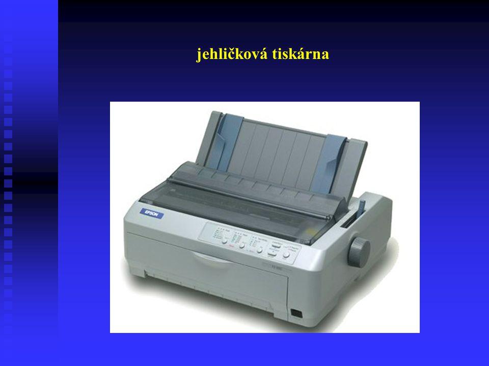 Jehličkové tiskárny Jehličkové tiskárny se dělí podle velikosti tiskové hlavy na:  1 jehličková  8 jehličková  9 jehličková  24 jehličková