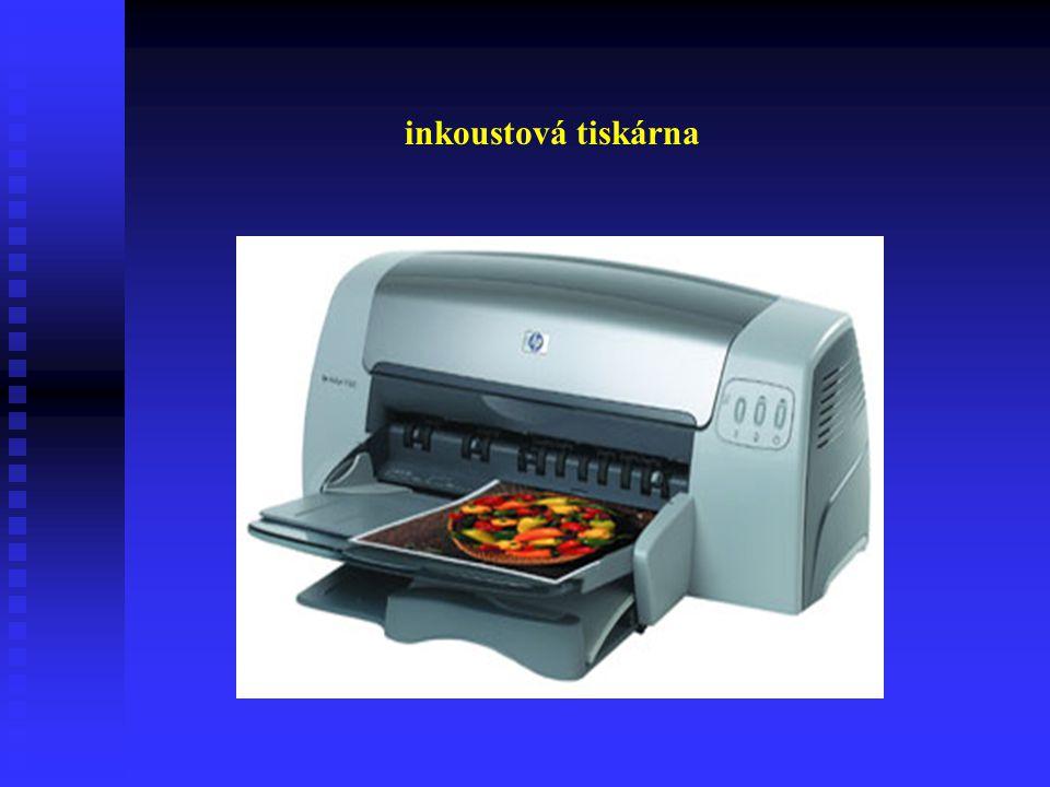 Inkoustové tiskárny Tiskové body jsou maličké ionizované kapičky inkoustu, vstřikované přímo na papír. Tisk může být černý nebo barevný podle toho jak