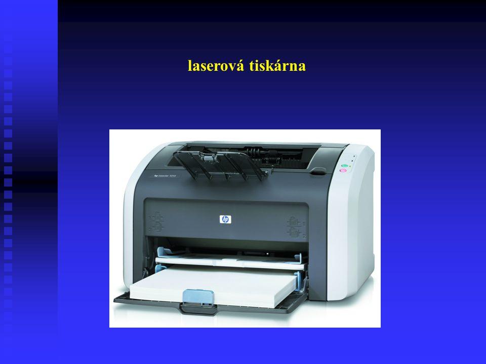 Laserové tiskárny Jsou rychlé, ekonomické a velmi kvalitní. Spotřebním materiálem jsou tonery s tiskařským práškem. Při tisku je prášek přichycen v mí