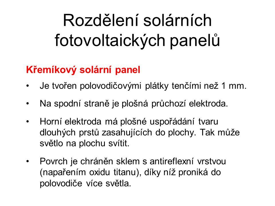 Rozdělení solárních fotovoltaických panelů Křemíkový solární panel Je tvořen polovodičovými plátky tenčími než 1 mm. Na spodní straně je plošná průcho