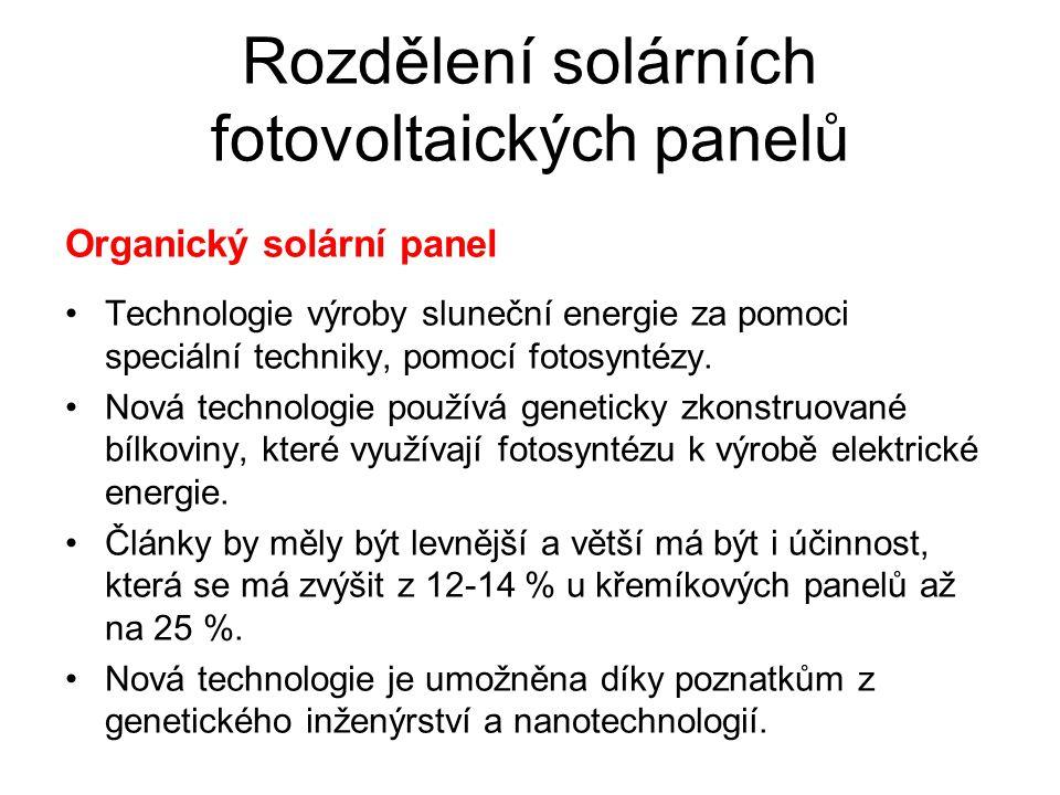 Rozdělení solárních fotovoltaických panelů Organický solární panel Technologie výroby sluneční energie za pomoci speciální techniky, pomocí fotosyntéz