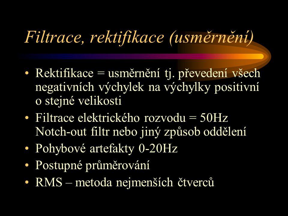 Filtrace, rektifikace (usměrnění) Rektifikace = usměrnění tj. převedení všech negativních výchylek na výchylky positivní o stejné velikosti Filtrace e