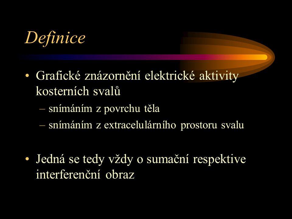 Definice Grafické znázornění elektrické aktivity kosterních svalů –snímáním z povrchu těla –snímáním z extracelulárního prostoru svalu Jedná se tedy v