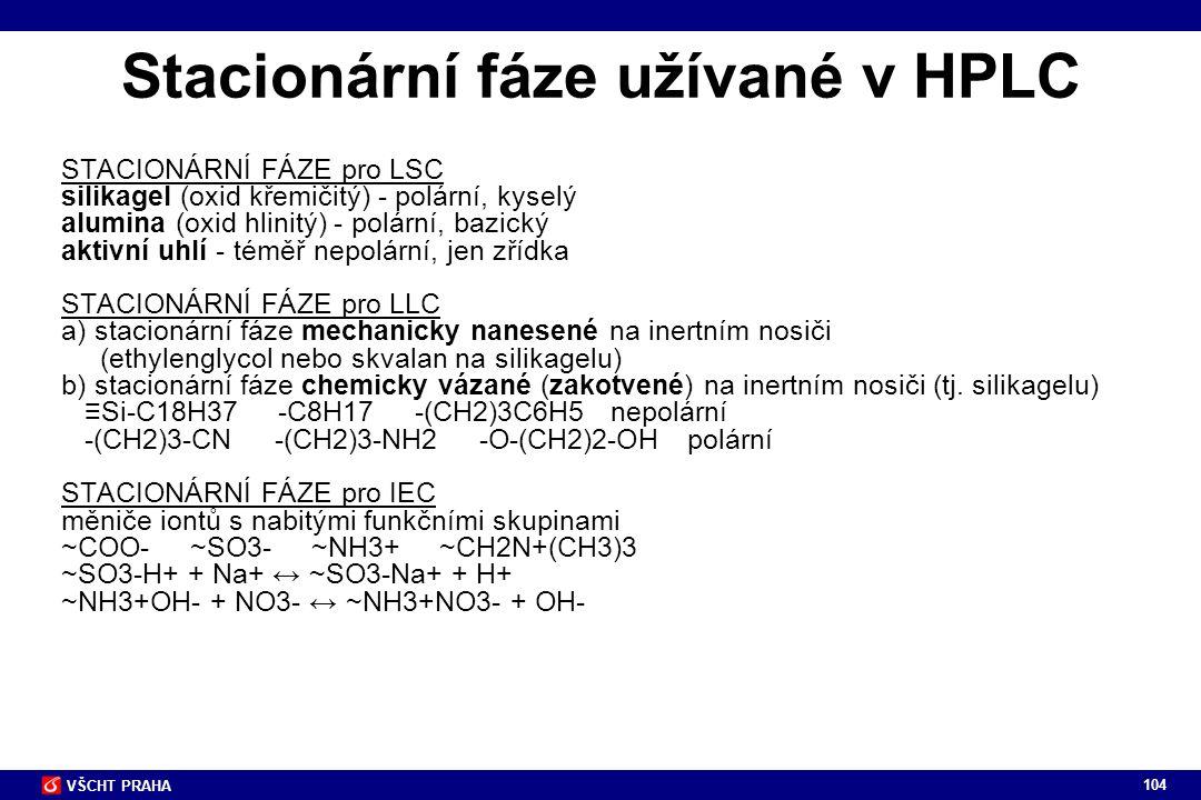 104 VŠCHT PRAHA Stacionární fáze užívané v HPLC STACIONÁRNÍ FÁZE pro LSC silikagel (oxid křemičitý) - polární, kyselý alumina (oxid hlinitý) - polární