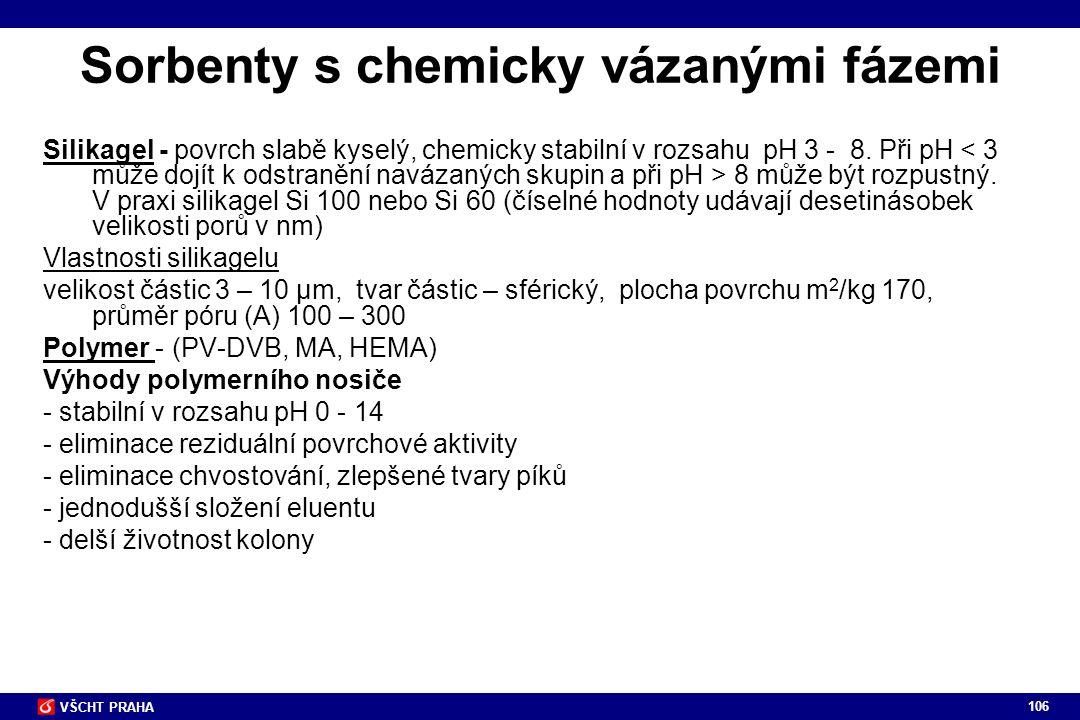 106 VŠCHT PRAHA Sorbenty s chemicky vázanými fázemi Silikagel - povrch slabě kyselý, chemicky stabilní v rozsahu pH 3 - 8. Při pH 8 může být rozpustný