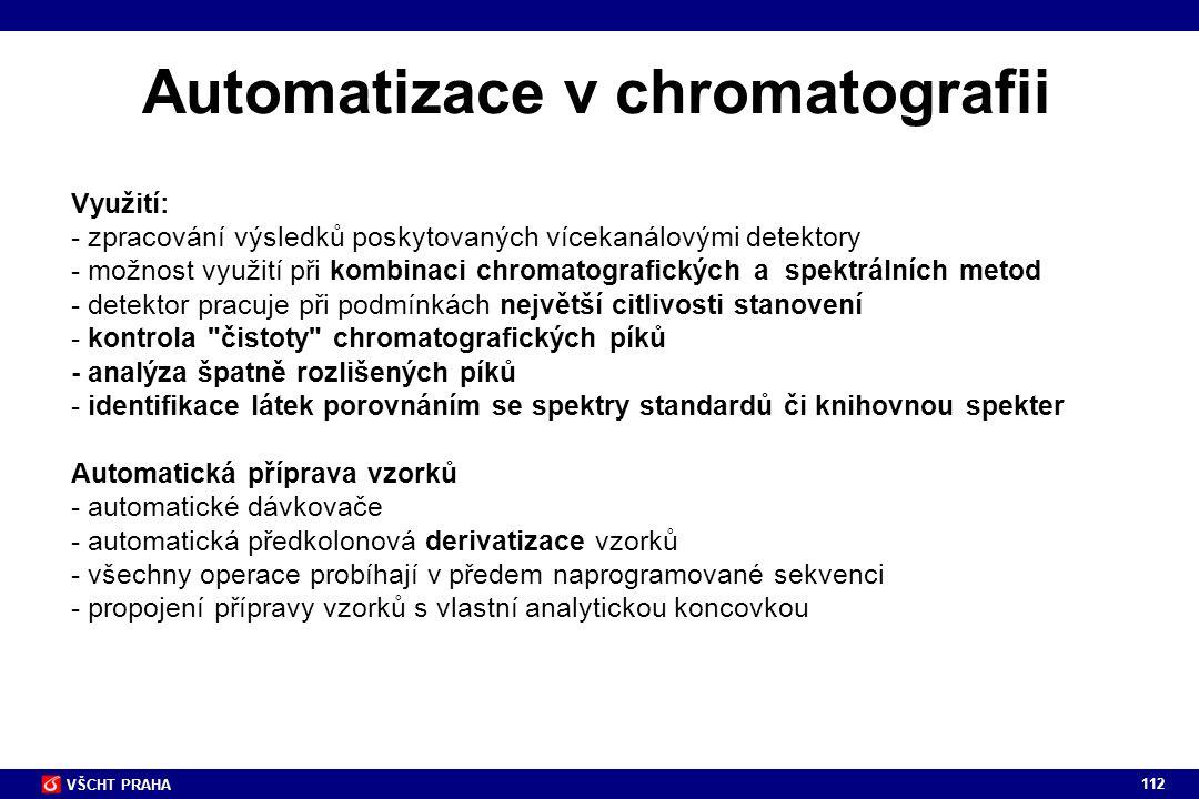 112 VŠCHT PRAHA Využití: - zpracování výsledků poskytovaných vícekanálovými detektory - možnost využití při kombinaci chromatografických a spektrálníc