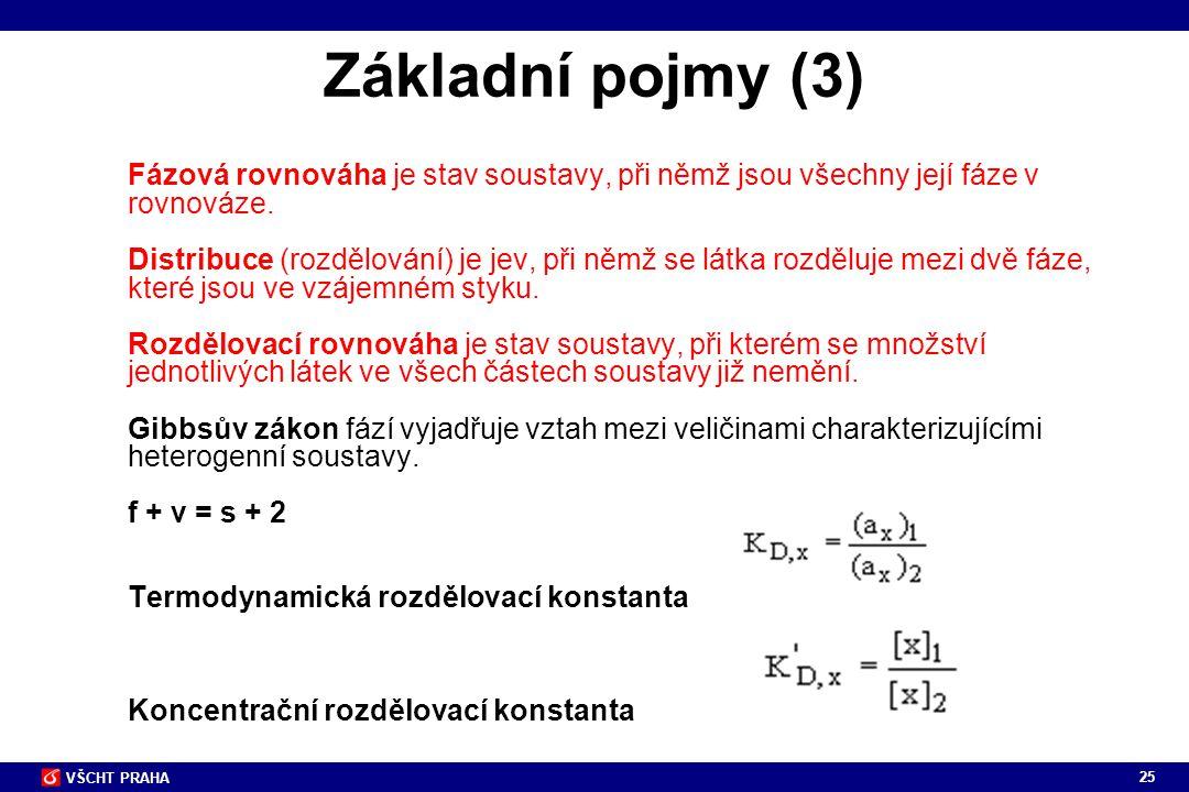 25 VŠCHT PRAHA Základní pojmy (3) Fázová rovnováha je stav soustavy, při němž jsou všechny její fáze v rovnováze. Distribuce (rozdělování) je jev, při