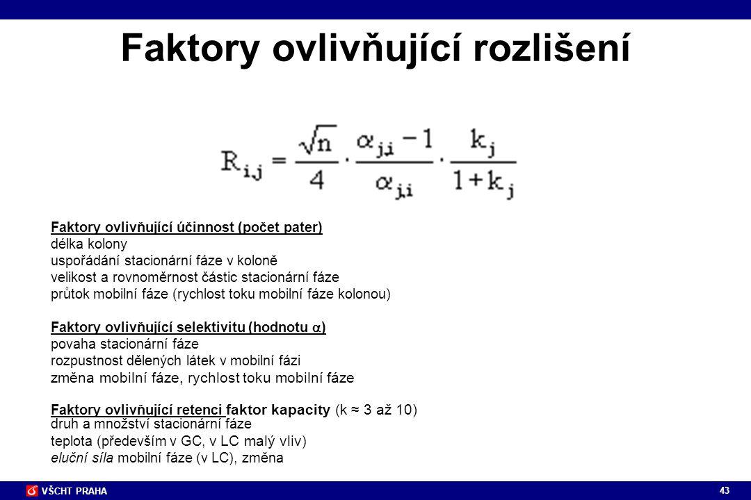 43 VŠCHT PRAHA Faktory ovlivňující rozlišení Faktory ovlivňující účinnost (počet pater) délka kolony uspořádání stacionární fáze v koloně velikost a r