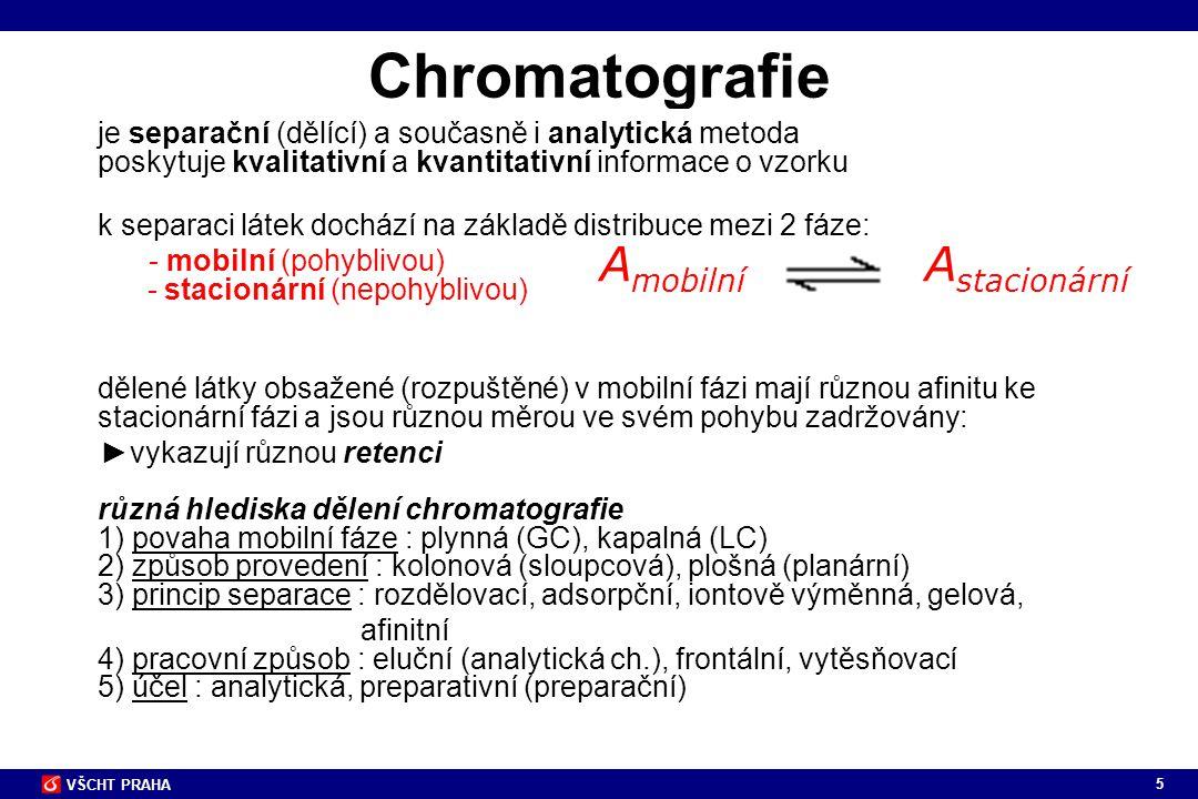 5 VŠCHT PRAHA Chromatografie je separační (dělící) a současně i analytická metoda poskytuje kvalitativní a kvantitativní informace o vzorku k separaci