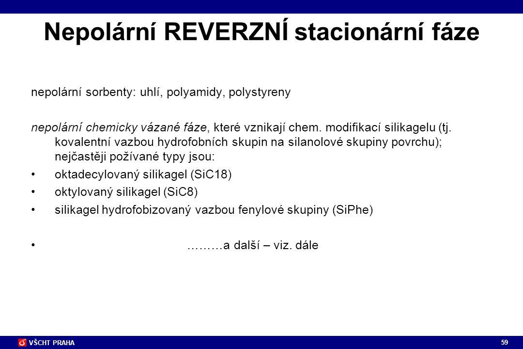 59 VŠCHT PRAHA Nepolární REVERZNÍ stacionární fáze nepolární sorbenty: uhlí, polyamidy, polystyreny nepolární chemicky vázané fáze, které vznikají che