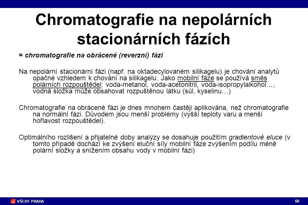 60 VŠCHT PRAHA Chromatografie na nepolárních stacionárních fázích = chromatografie na obrácené (reverzní) fázi Na nepolární stacionární fázi (např. na
