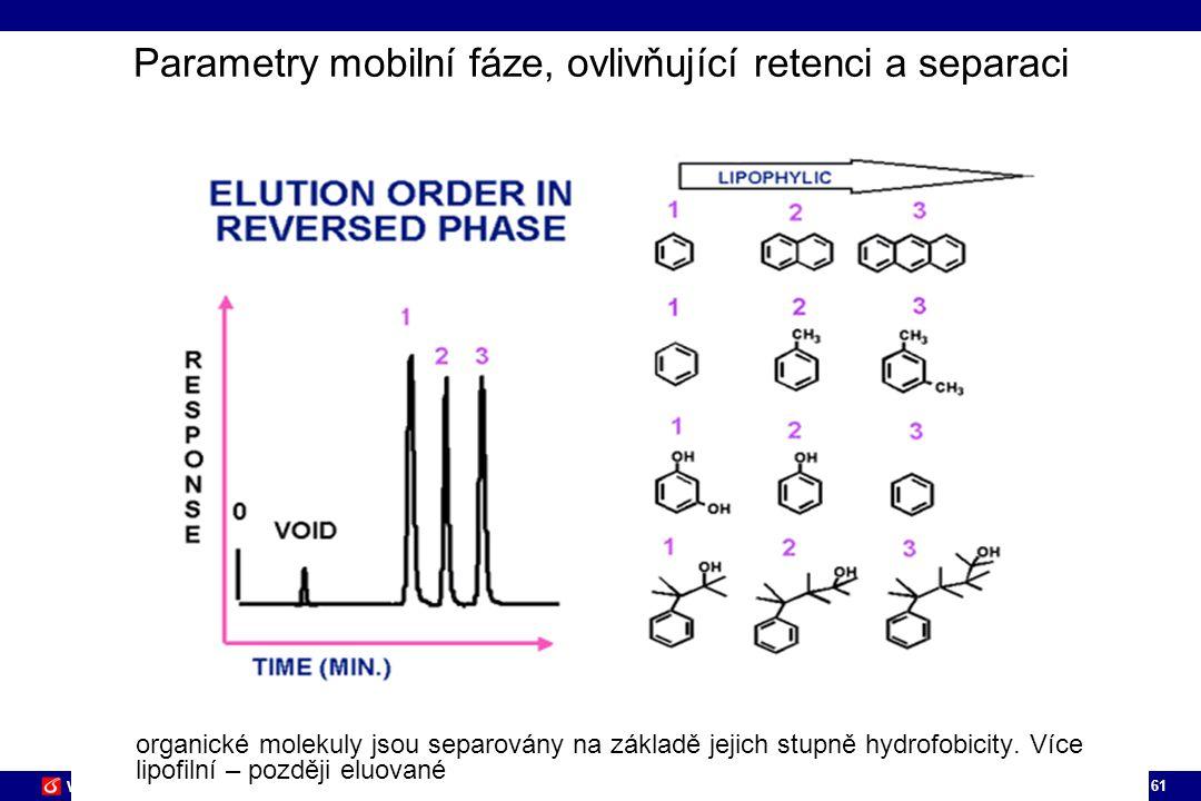 61 VŠCHT PRAHA Parametry mobilní fáze, ovlivňující retenci a separaci organické molekuly jsou separovány na základě jejich stupně hydrofobicity. Více