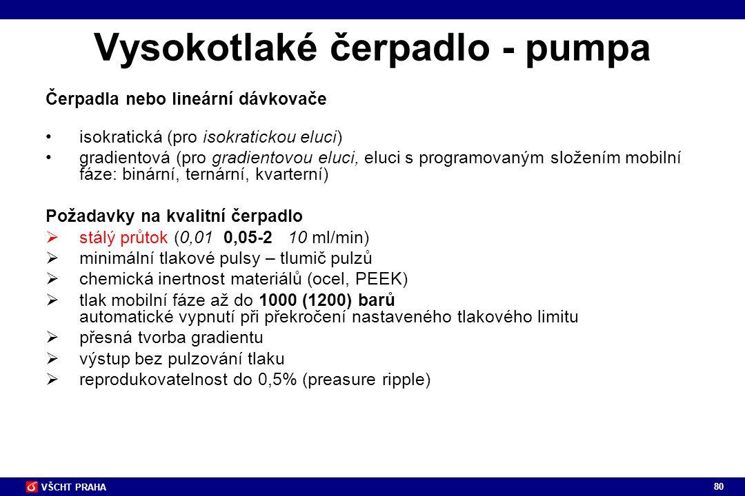 80 VŠCHT PRAHA Vysokotlaké čerpadlo - pumpa Čerpadla nebo lineární dávkovače isokratická (pro isokratickou eluci) gradientová (pro gradientovou eluci,
