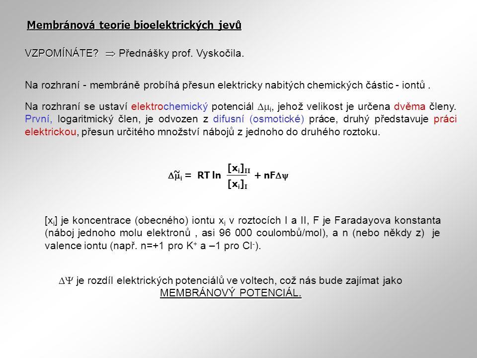 Membránová teorie bioelektrických jevů [x i ] je koncentrace (obecného) iontu x i v roztocích I a II, F je Faradayova konstanta (náboj jednoho molu el